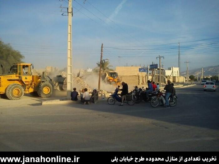 عکس>تخریب تعدادی از منازل محدوده طرح خیابان پلی